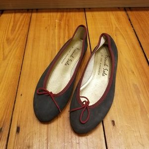 French Sole Navy Suede Ballet Flats Red Trim